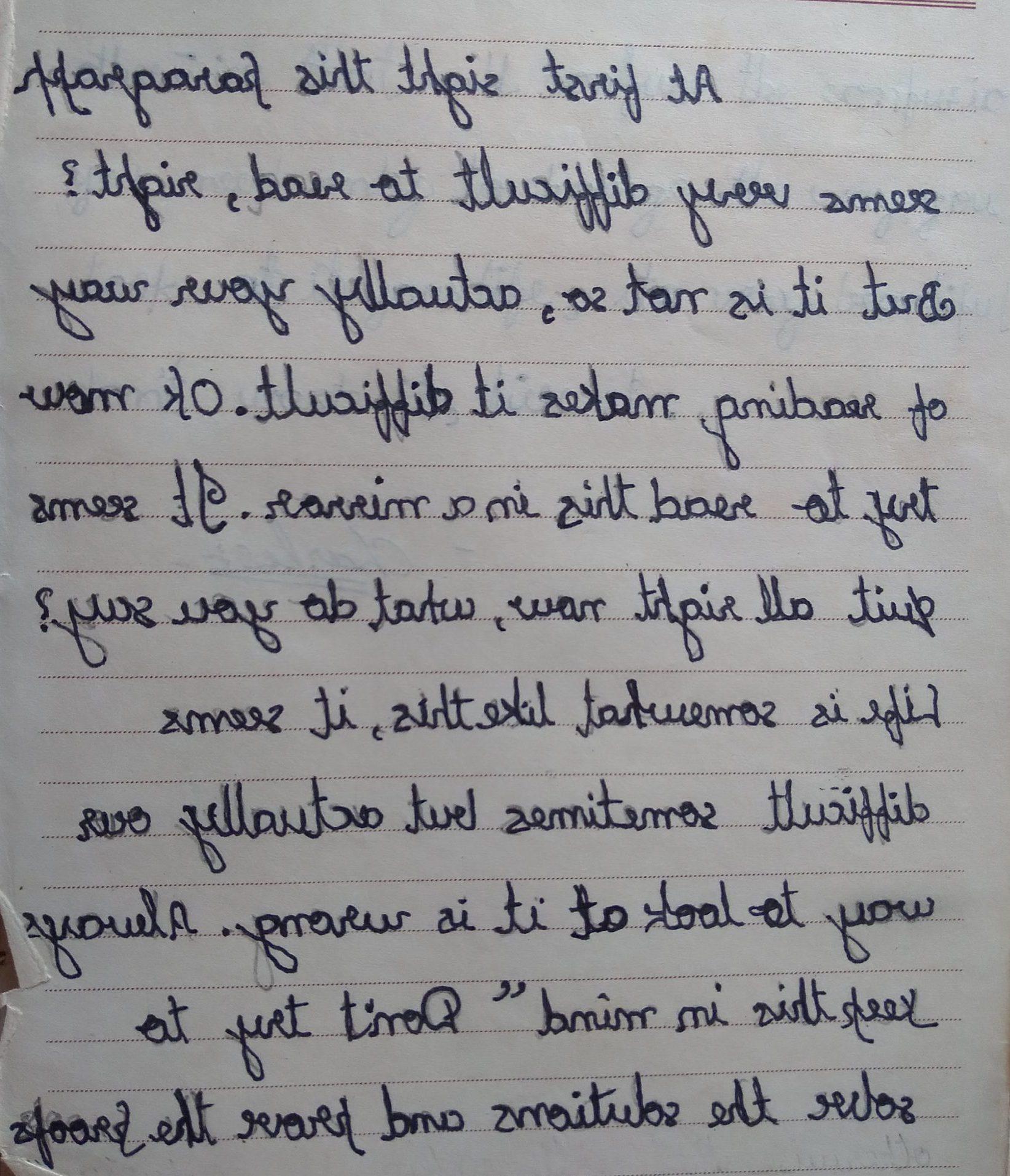 reflective handwriting, mirror