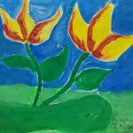 Flowers painting, child art, art classes