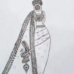 Image depicting mandala art, woman, saree