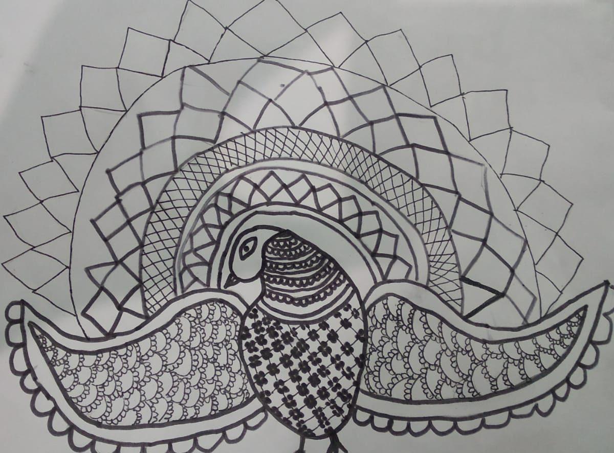 Image depicting mandala art, peacock