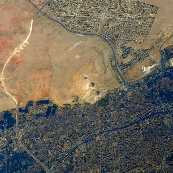 Image depicting photo from space of the Pyramids of Giza