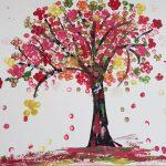 Image reflecting tree, flowers