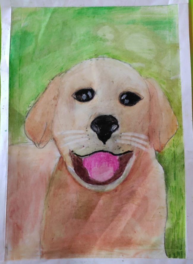 Image depicting Puppy with pastel