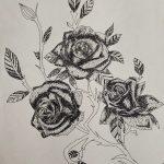 Image depicting roses dot pen art